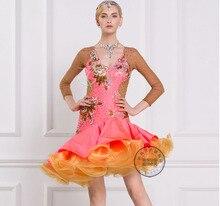 New patchwork orange pink tutu long sleeve back mesh Rumba cha cha salsa tango Latin dance competition dress Rihinestone