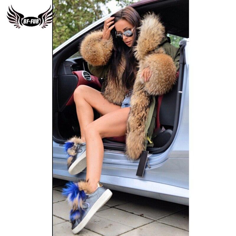 Bffur Fourrure Femmes Populaire Palais Chaud Avec Vraie Vêtements Naturelle Long La Parka Épais Lâche De Tops Street High Manteau rwrq8dI