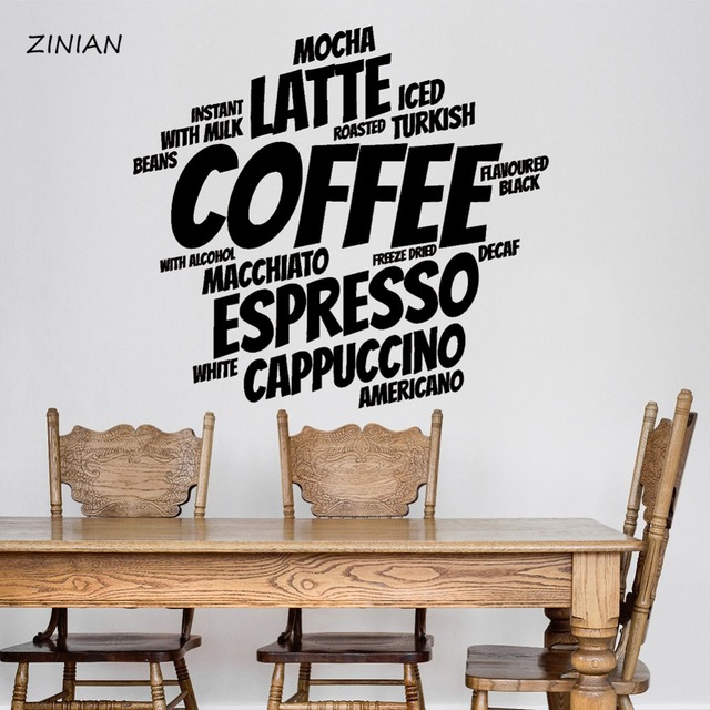 coffee words wall sticker coffee shop decoration cafe vinyl stickers