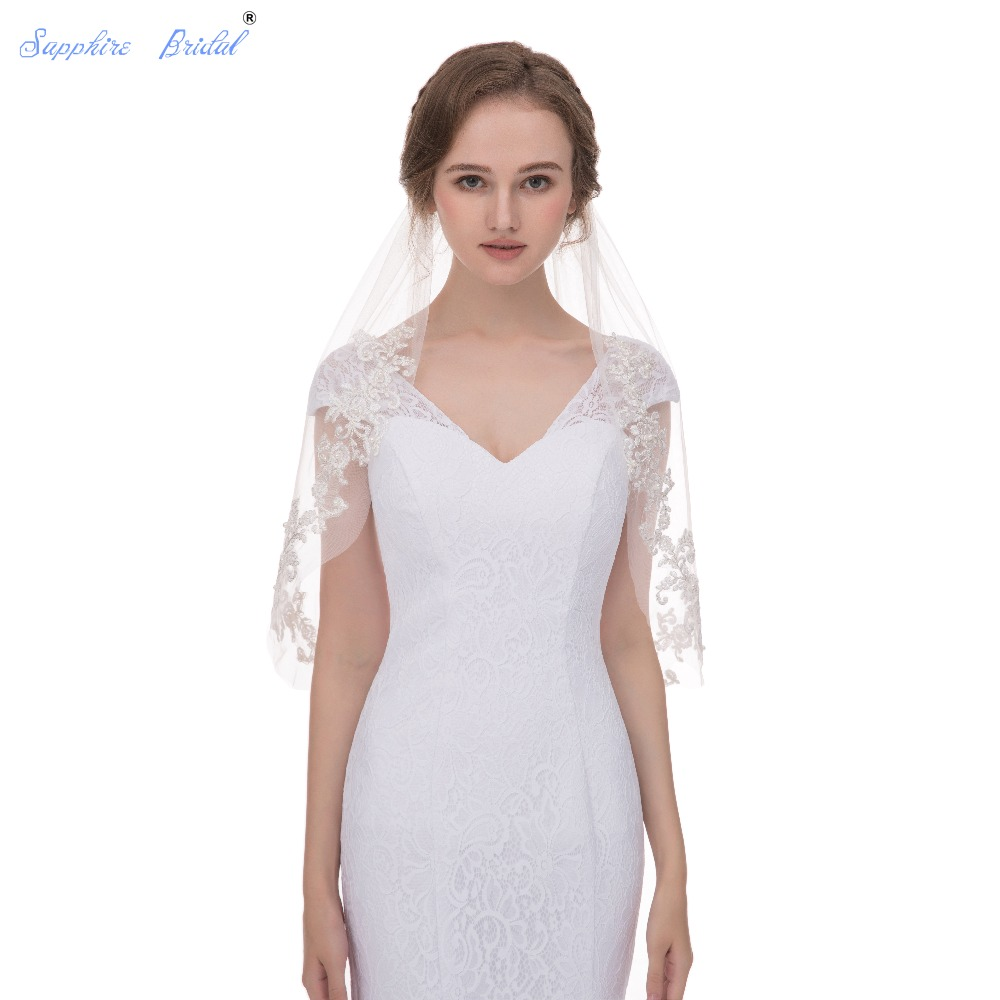 Sapphire Bridal High End Two Tiers Lace Edge Bridal Wedding Veil Hot Sale 100% Real Photo