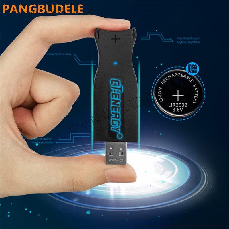 Alta qualidade universal USB carregador de interface LIR2032 1 PCS + 2 PCS recarregável de célula tipo moeda Botão Bateria