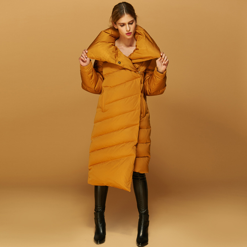 High Quality European Chic Women's Winter Jackets Long Thick Warm White Duck   Down     Coats   Comfortable Bread Outwears   Coats   AO020