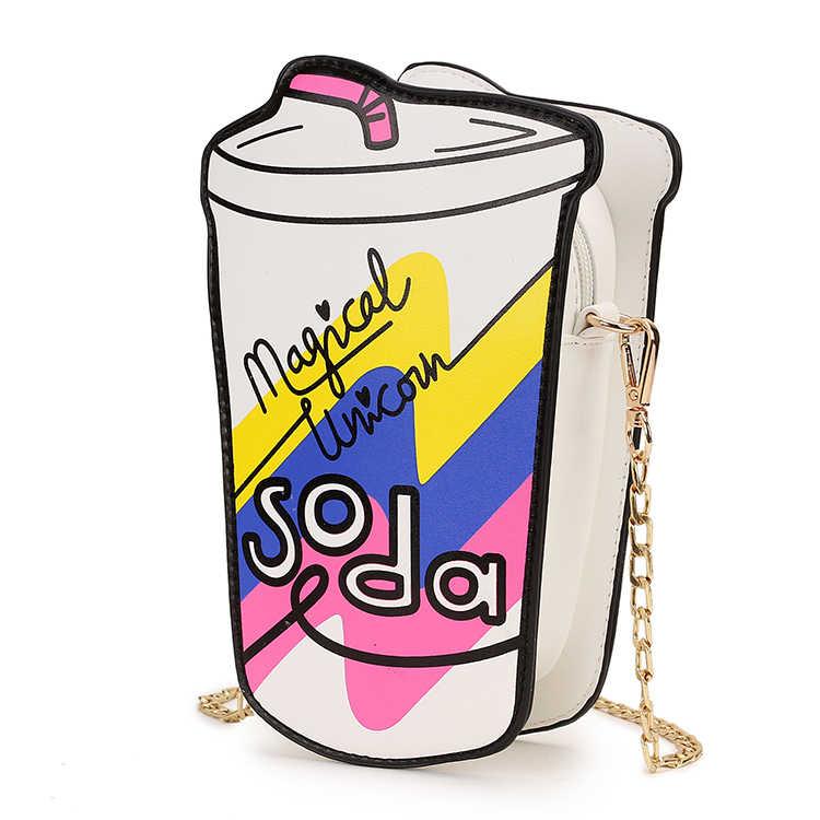متعة الصيف زجاجة مياه غازية تصميم شفافة PVC بو الفتاة سلسلة محفظة حقيبة كتف Crossbody البسيطة حقيبة الإناث الحقيبة رفرف حقيبة يد