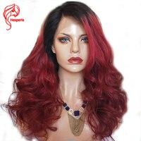 Hesperis 1b/красный натуральные волосы длиной полные бордовый кружевной парики предварительно сорвал Brazlian Реми кружевные парики ломбер бесклее
