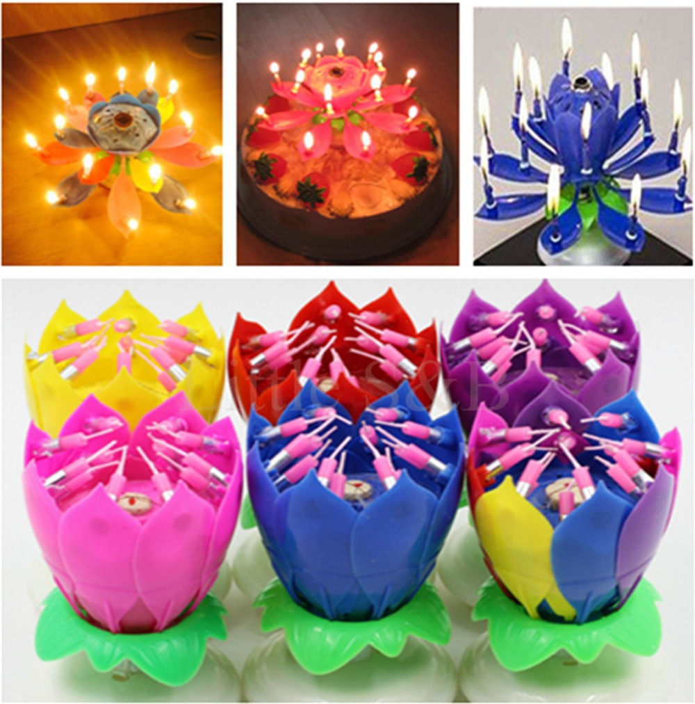 Musical lotus flower flame happy birthday cake party gift lights musical lotus flower flame happy birthday cake party gift lights rotation decoration 8 14 candles lamp surprise in candles from home garden on izmirmasajfo