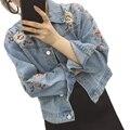Bordado Jaqueta Jeans Mulheres 2017 Primavera Outono Senhoras de Manga comprida Jaqueta Curta Brasão Moda Feminina Jean Jacket Outwear da Menina