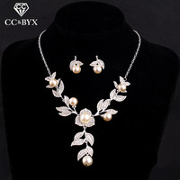 New Design Flower And Leaf Bridal Jewelry Sets Including Earring And Necklace Wedding Jewelry For Lady