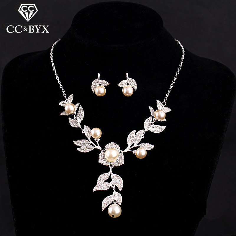 Lovely Simple Design Jewelry Sets for couple Beautiful Pink Pearl & Crystal Necklace Earring sets for Women Chic Accessory  D005