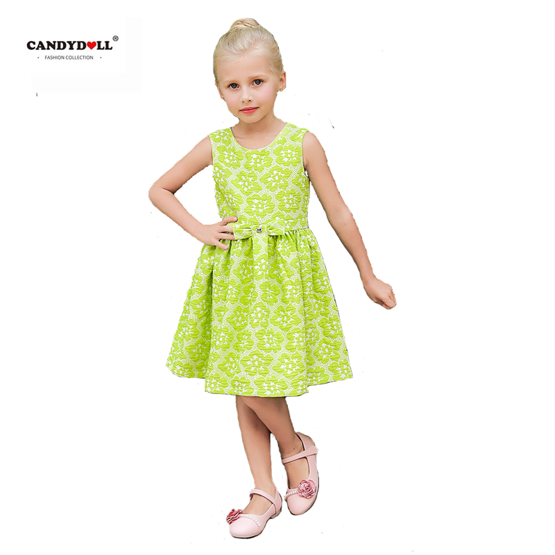 Summer Girls Dress Baby Green Jacquard Cotton Hight Quality Vest Clothing for Children 2017 jacquard green label silk colors cyan [pack of 3 ]