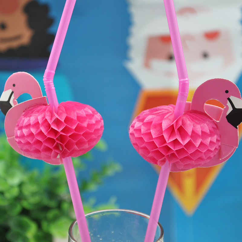 New 50PCS/Lot Cute 3D Flamingo Straw Bendy Flexible Plastic Drinking Straws Kids Birthday/Wedding/Pool Party Decoration Supplies