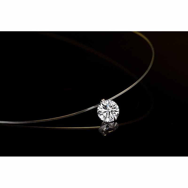 925 Sterling Silver błyszczący naszyjnik z cyrkonią niewidzialna, przezroczysta żyłka wędkarska wisiorek Chokers Collar biżuteria dla kobiet