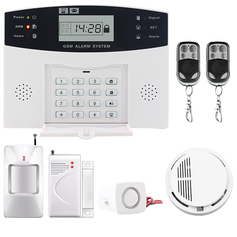 Top quality LCD Display Wireless GSM &Home Security Alarm System SMS and Smoke Sensor Russian/English/Spanish/French voice недорго, оригинальная цена