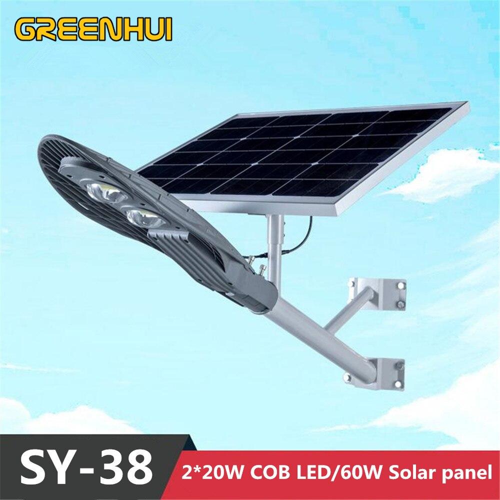 2016NEW Super lumineux 40W COB lampe à LED réverbère solaire 12V60W panneau solaire puissance extérieure étanche chemin lumière rayon + contrôle du temps