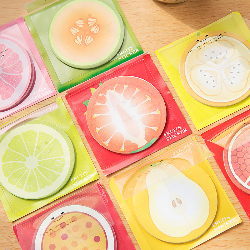 1 PCS Kawaii Fruit Memo Pad Note Cute Sticky Paper Scrapbooking Sticker Post It Note Creative Korean Stationery BLT18 140 page note paper creative fruit design
