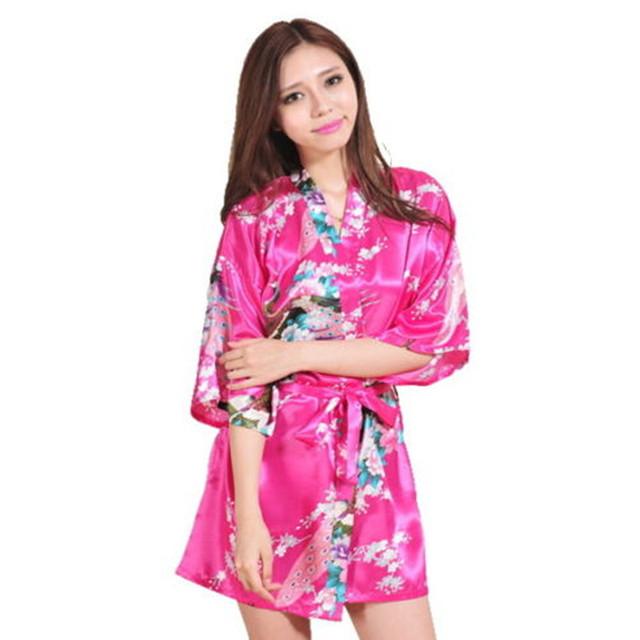 Venda quente Hot Pink Mulheres Robe Quimono Obi Yukata Japonês Gueixa Vestido Sexy Lingerie Camisola Rayon Sleepwear Roupão 14 Cores