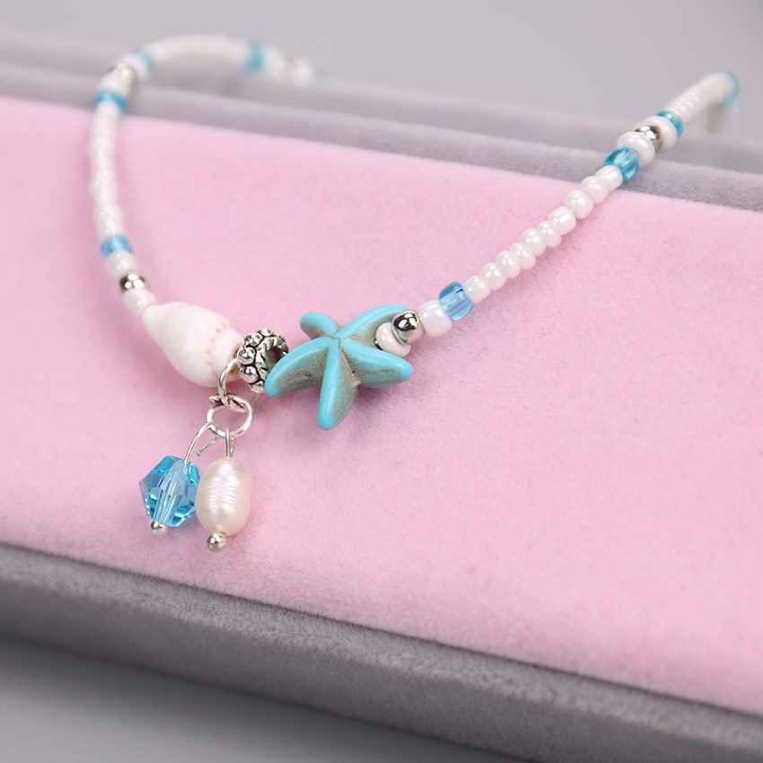 Vintage Shell Beads Women Imitation Pearls Starfish Charms Bracelets Anklets for Women Summer Foot Chain Jewelry Gift Party