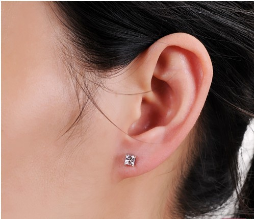 Te201 Princess Cut Earrings 1carat Sona Synthetic Gem 925 Sterling Silver White Gold Color Free Shipping In Stud From Jewelry