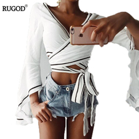Rugod 2017 Hot Sexy Lace Up SlimTops And Blouses Women New Fashion Elegant Shirt Crop Tops