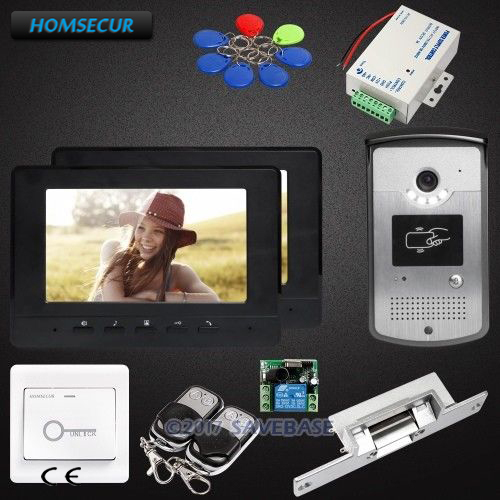 1V2 7inch HOMSECUR Wired Video Door Entry Security Intercom with Strike Lock for Home Security