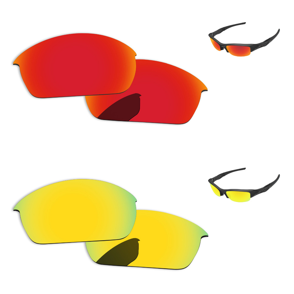 24k Golden Amp Fire Red 2 Pairs Mirror Polarized Replacement