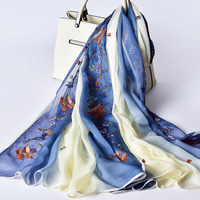 100% Natural Silk Scarf Women Shawls Wraps Embroidery Chiffon Silk Scarves Stole Pashmina Headscarf Neckerchief 190*105cm