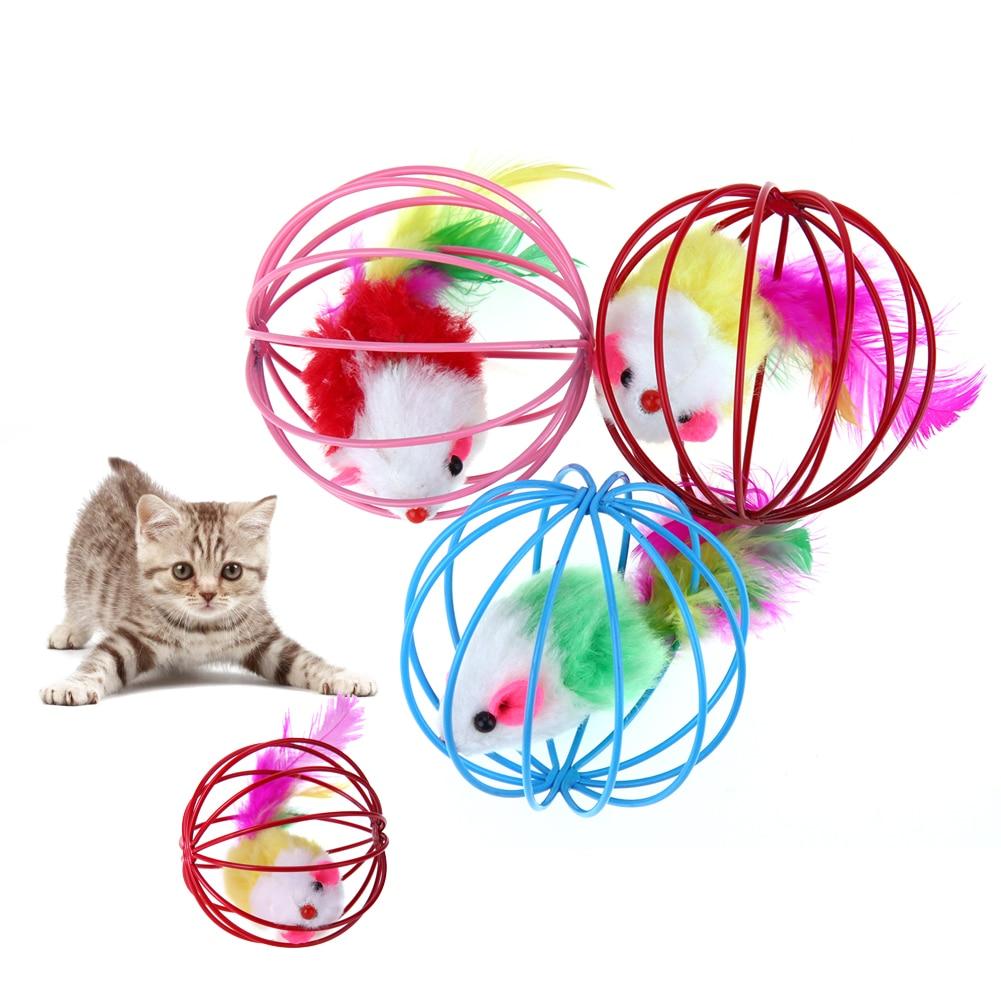 3pcs Funny Pet Kitten Cat Playing Mouse Rat Mice Ball Cage Toys False Feather Ball Cage Toy Juguetes Para Gatos Cat Supplies