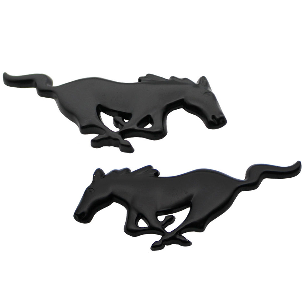 Pair 3d black horse car styling auto aluminium alloy emblem badge stickers for ford mustang universal in car stickers from automobiles motorcycles on
