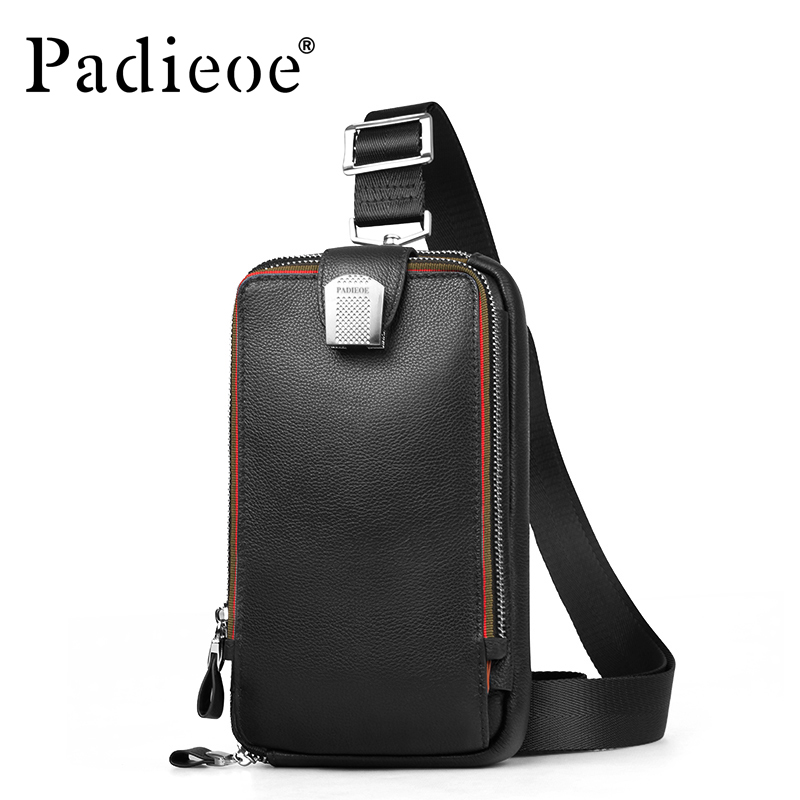 Padieoe Genuine Cow Leather Men Chest Bag Crossbody bag Top Quality Casual Men Messenger Bag Luxury Leather Waist Pack Waist Bag