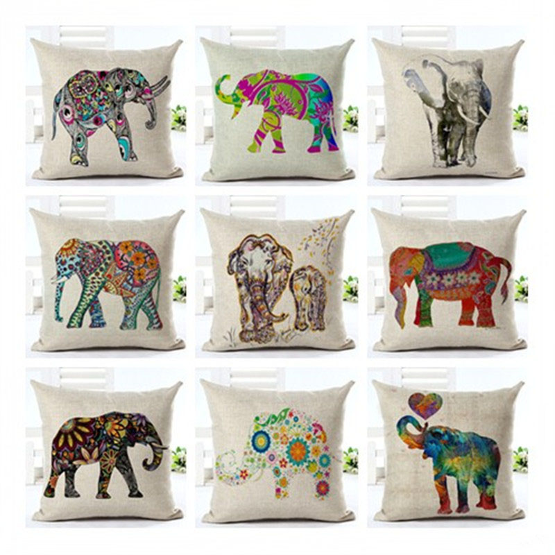 Pillowcase Colorful African Elephant Cushion Cover Pillowcase Sofa Car Office Home Decor F