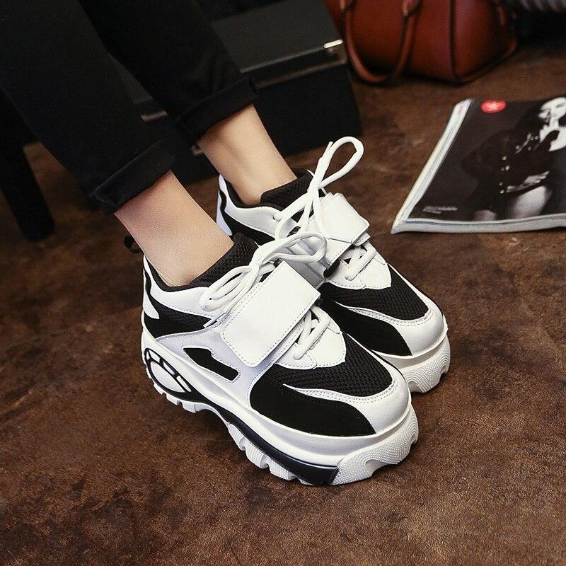 Лотос джолли 2017 харадзюку женщины повседневная обувь платформы лифта парусиновые туфли женщина сдобы толстой подошве квартиры каблуки mujer Е3