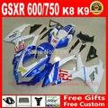 plastic fairing kit for Suzuki GSXR600 GSXR750 2008 2009 2010 white blue ABS fairings set K8 08 09 10 GSXR 600 750 BM75