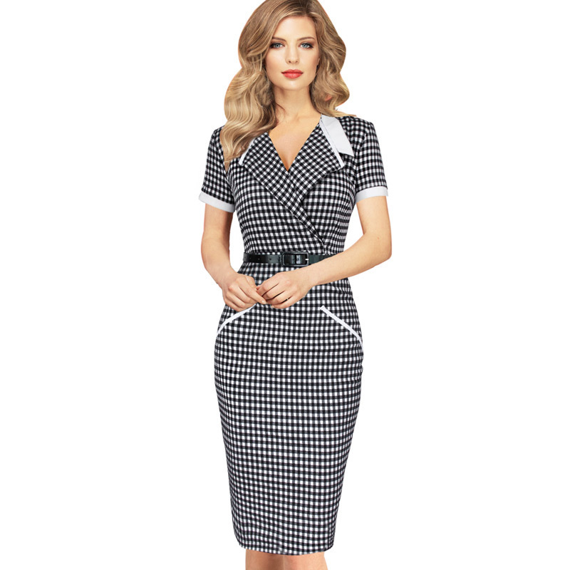 free shipping Women Summer Style Vintage Elegant Contrast Lapel font b Tartan b font Plaids Wear