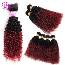 Реми 100% пучки человеческих волос T1B / Бургундия Ombre Kinky пучок вьющихся волос предложения