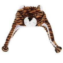 SAF-Животных Hat С Шарф Из Искусственного Меха Дети Зимняя Шапка-Коричневый Тигр
