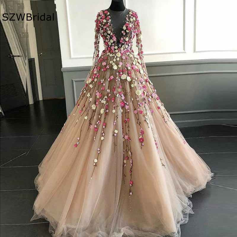 Pretty Champagne   Evening     Dresses   2019 Illusion Full Sleeves Coloful 3D Flower A-line Tulle Prom Gowns Formal   Dress   Abendkleider