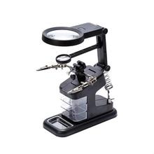 Lutownica lutownica stojak uchwyt stacja biurko lupa LED Light Clamp Clip pomocna dłoń powiększająca płytka drukowana