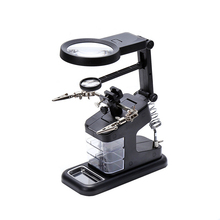 Soldering Solder Iron Stand Holder Station Desk Magnifier LED Light Clamp Clip Helping Hand Magnifying Circuit Board