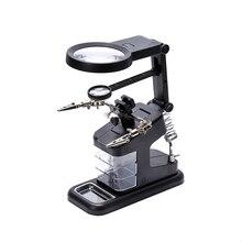 Soporte para soldadura de hierro, lupa de escritorio, abrazadera de luz LED, lupa de circuito manual, lupa de ayuda