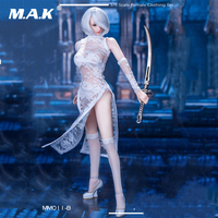 MM011B 1/6 Scale Sexy Clothes Set Costume MISS 2B's White Lace Cheongsam Stockings Shoes Set for 12 inches Action Figure Body