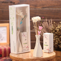 2pcs Lot Aroma Story Home Fragrance Perfume Reed Diffuser With Dred Flower And Spiral Ceramic Vessel