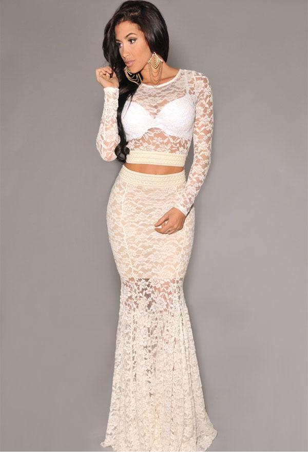 0e8f7bbb8d9 2014 Fashion women clothing 2 colors Ivory Black Sexy hollow out Lace  Mermaid Maxi Two Piece Skirt Set for evening party LC6690