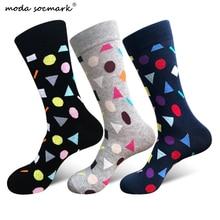 Moda Socmark Brand 2019 New Happy Socks Men Geometry Pattern Funny Sock Cotton Fashion Casual Crew for Women