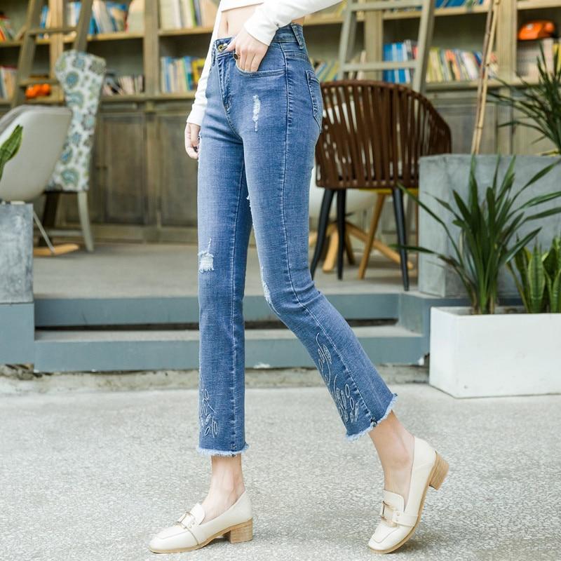 Blend Adelgazamiento Moda Agujero Borla Nueva Smf0804 Casual Pantalones Más Las Para Denim Jeans Capris Tamaño Mujeres Flare Algodón Mujer w06q1x4TT