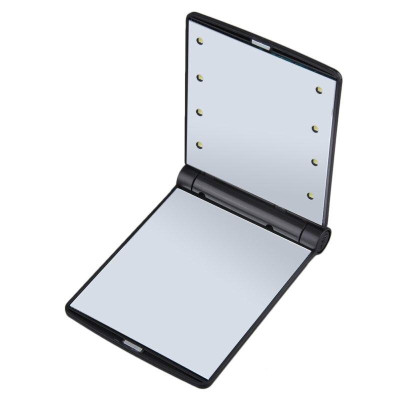 1 Stück 5 Farben Make-up Spiegel Kosmetische Kompakte Tasche Mit 8 Led-leuchten Faltung Tragbare Geschenk Tragbare Tabletop Schönheit Make-up-tool Haut Pflege Werkzeuge Spiegel