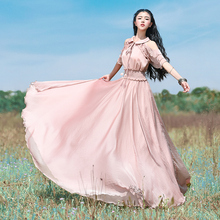 Free Shiping 2019 New Fashion Women Chiffon Long Maxi Cloak Sleeve Ruffles Dresses Summer Boshow Bohemian Dress With Big Hem S-L