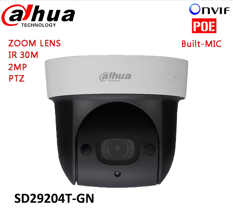 Original dahua DH SD29204T GN replace DH SD29204S GN IP 2MP Mic mini PTZ Dome POE Bulit in mic Camera 4x IR PTZ SD29204T GN
