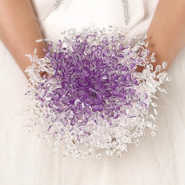 1 adet / grup Menekşe Akrilik düğün gelin nedime için çiçek - Tatiller ve Partiler Için - Fotoğraf 1
