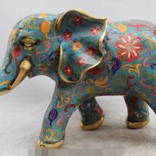 """1"""" Китайский Дворец Бронзовый Медь Перегородчатые Благоприятный Лаки Мир Статуя Слона быстро"""