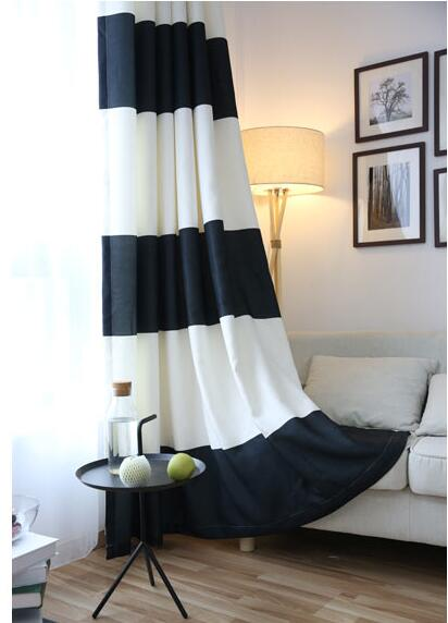 Online Shop Black White Splicing Striped Blackout Curtains For The Bedroom  Cotton Linen Modern Curtains For Living Room Window Curtains | Aliexpress  Mobile