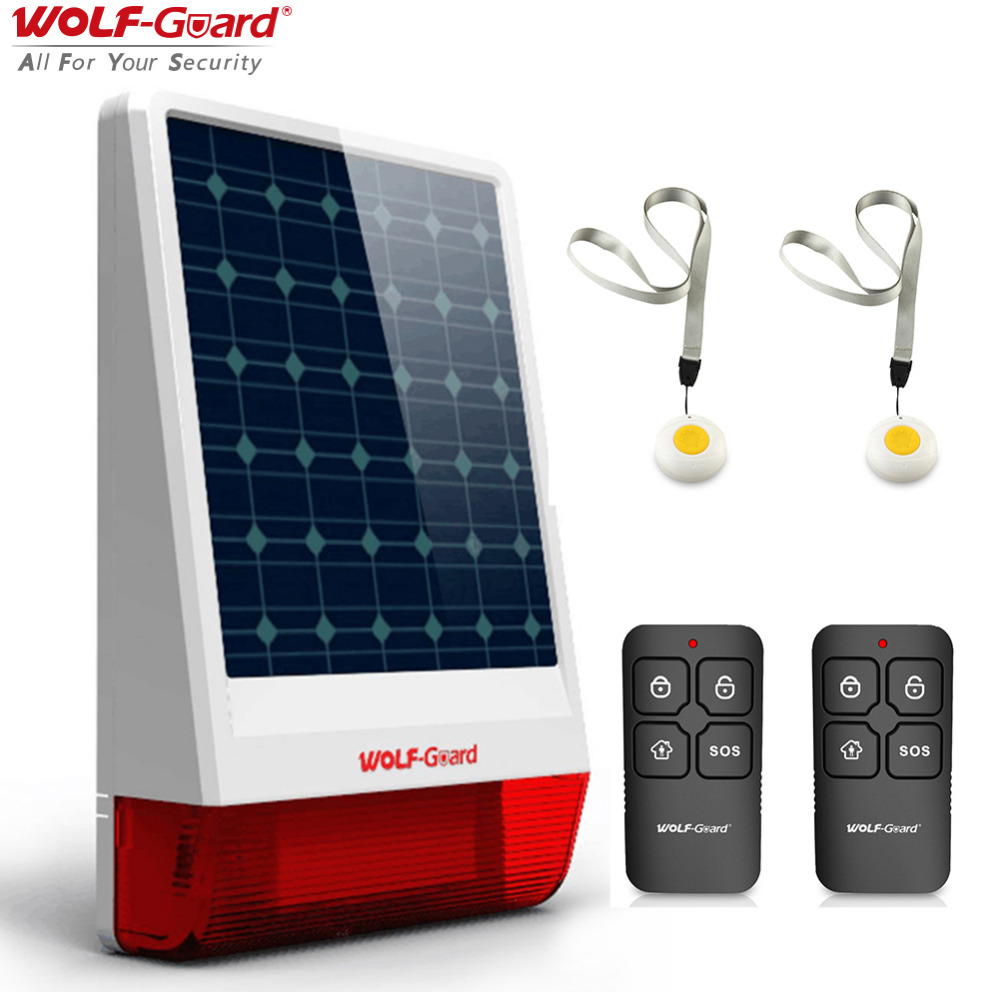 Wireless Outdoor Weather-Proof Solar Siren Simple Security Alarm Burglar System 2 SOS Button 2 Remote Controller Set A